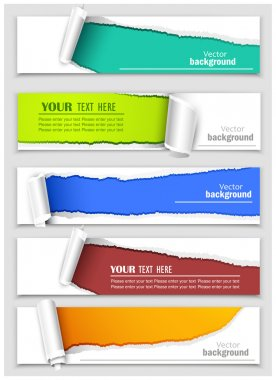 Set of banners with torn paper corners. Vector clip art vector