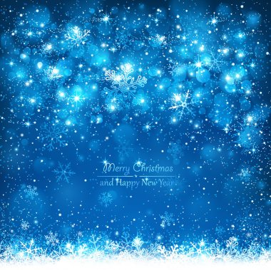 Blue background with falling snowflakes stock vector
