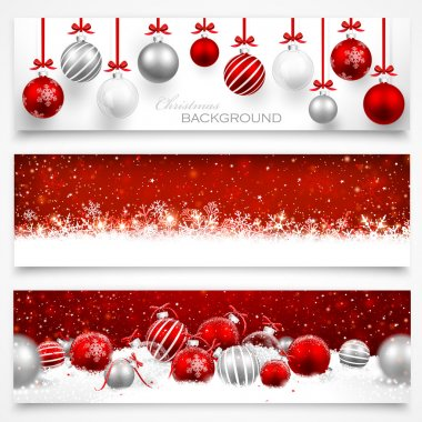 Collection of Christmas banners with snowflakes and Christmas balls stock vector