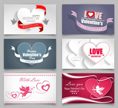 Valentines day cards set on a gray background. Vector illustration clip art vector