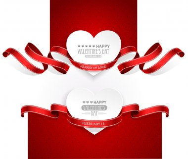 Valentines Day emblems with red ribbons. Vector stock vector