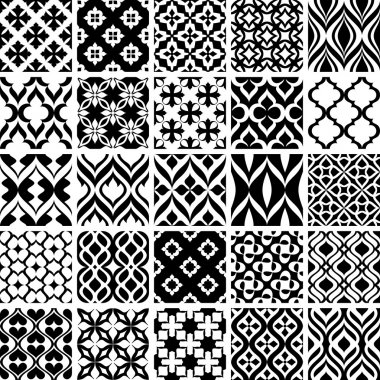 Set of black and white abstract patterns vector illustration stock vector
