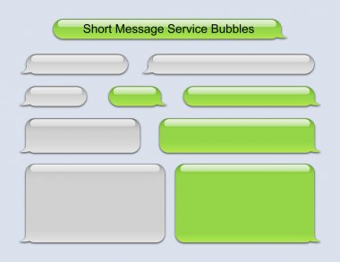 Illustration of SMS Bubbles green and gray used on famous phone stock vector