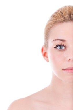 portrait of half face of beautiful woman - Caucasian