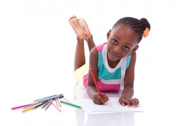 Cute black african american little girl drawing - African