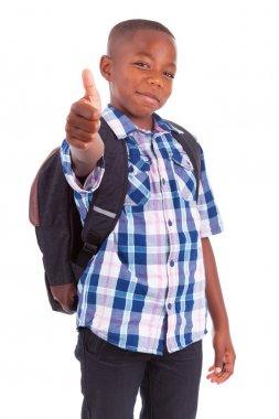 African American school boy making thumbs up - Black people