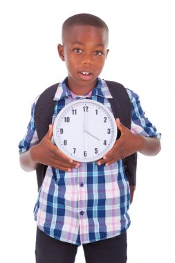 African American school boy holding a clock - Black people