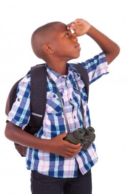 African American school boy holding binoculars - Black people