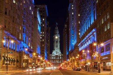 Philadelphia city hall by night , Pennsylvania USA