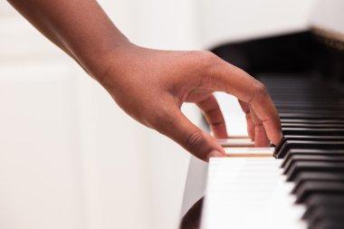 African American hand playing piano - Touching piano keys - Blac