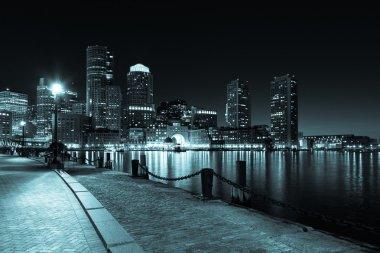 Boston skyline by night - Massachusetts - USA