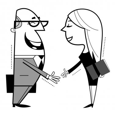 Shaking hands cartoon illustration.