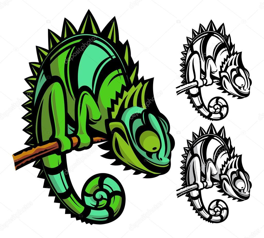 personagem de desenho animado de camaleão vetor de stock pepelaz