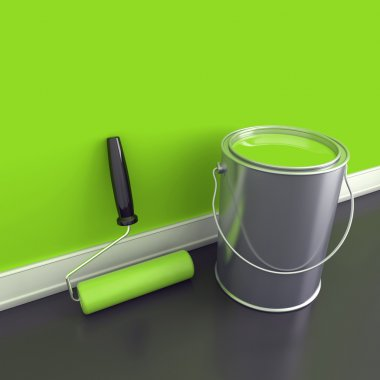 Painting of walls in a green paint
