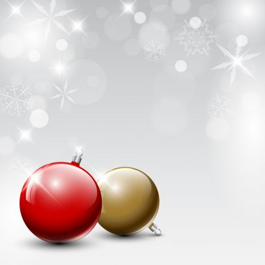 Vector red and golden Christmas realistic baubles on a silver background clip art vector
