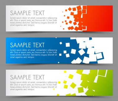 Simple colorful horizontal banners - with square motive stock vector