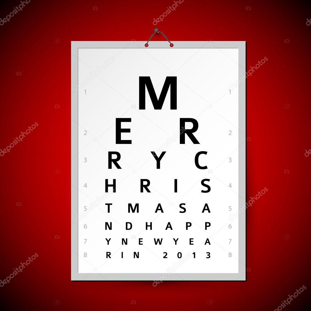 Vector Christmas eye test chart as xmas card