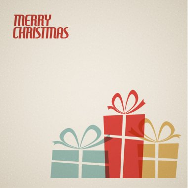 Retro Christmas card with christmas present - teal, brown and red clip art vector