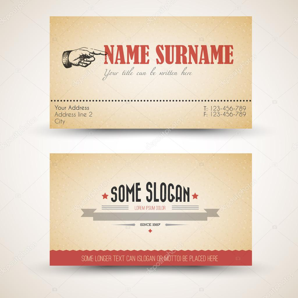 Vector Oldstyle Retro Vintage Business Card Template Stock - Vintage business card template
