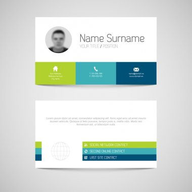 Modern simple light business card template with flat user interface stock vector