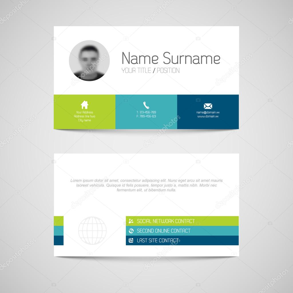 modern business card template with flat user interface stock