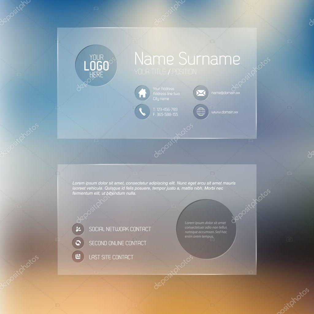 Modern transparent business card template — Stock Vector © orson ...