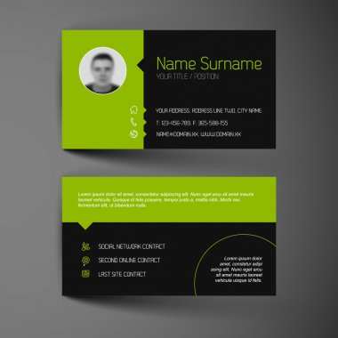Business card template with user interface