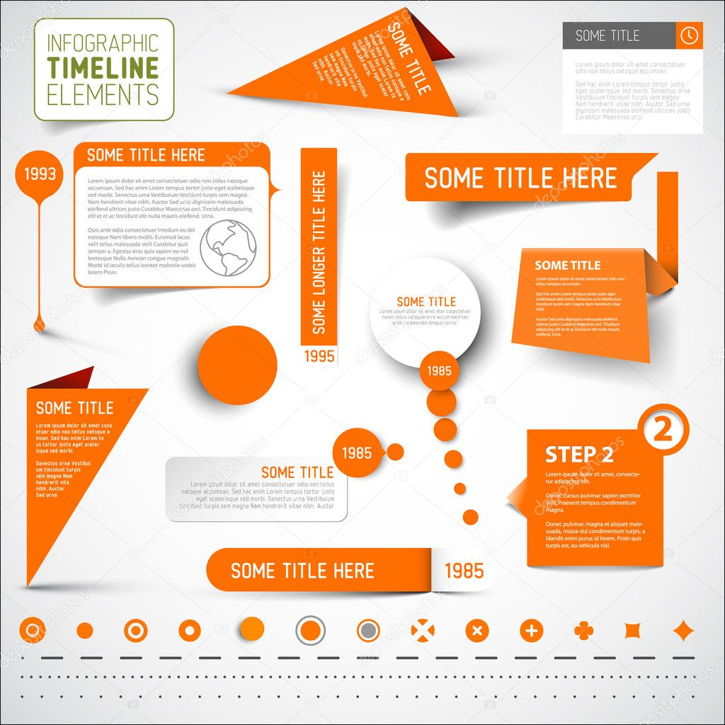 Orange infographic timeline elements