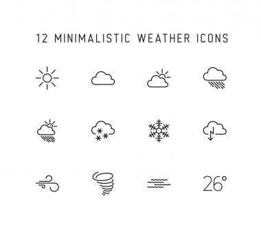 weather thin line icon set