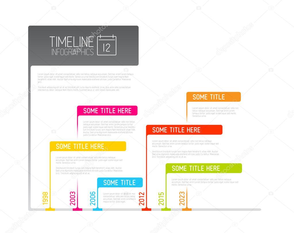 plantilla de informe de timeline colorido infografía con banderas ...