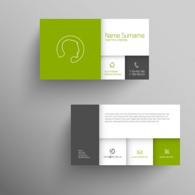 Modern green simple business card template with flat mobile user interface clip art vector