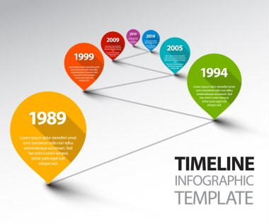 Fresh Infographic Timeline Template with pointers on a line