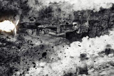 menacing man firing a machine gun