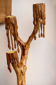 Photo Candle candelabra carved in wood