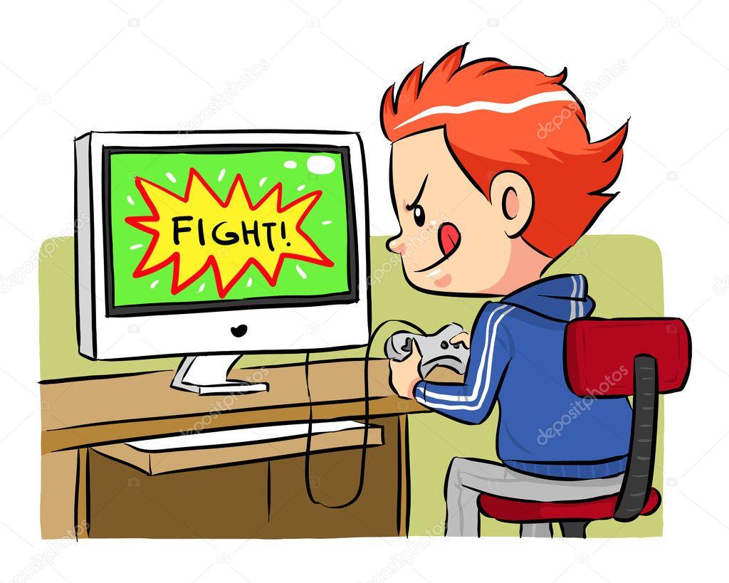 A boy playing computer games using joystick controller. Vector EPS8 file. stock vector