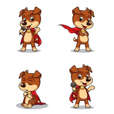 4 different poses of superhero puppy dog. Vector EPS8 file. stock vector