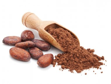 Cacao beans and cacao powder isolated on white