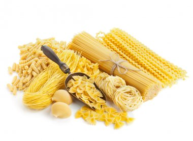 assortment of uncooked pasta isolated on white
