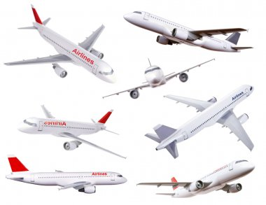 Collection of commercial plane model photos isolated on white stock vector
