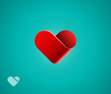 Heart symbol on green background clip art vector