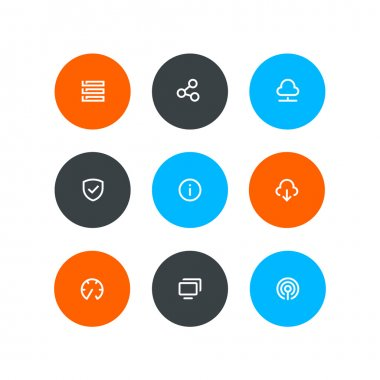Wireless and hosting icons. Flat style