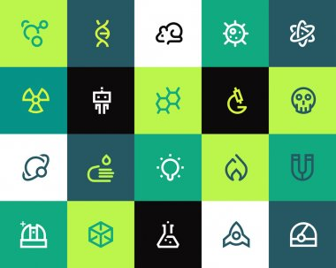Science icons set. Flat