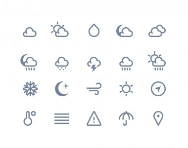 Weather icons set. Line series clip art vector