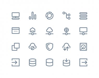Hosting and wireless network icons. Line series
