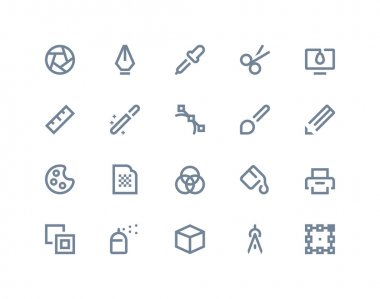 Graphic design icons set. Line series stock vector