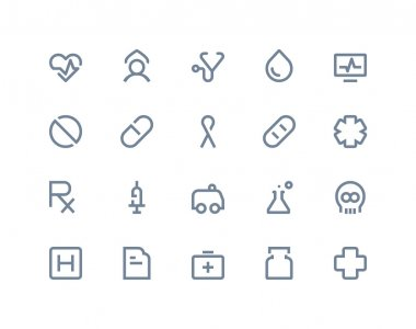 Medical icons. Line series