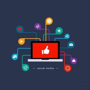 Social media flat concept