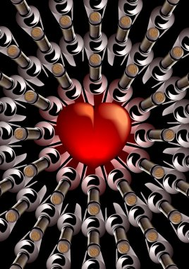 Red heart with bottles of wine