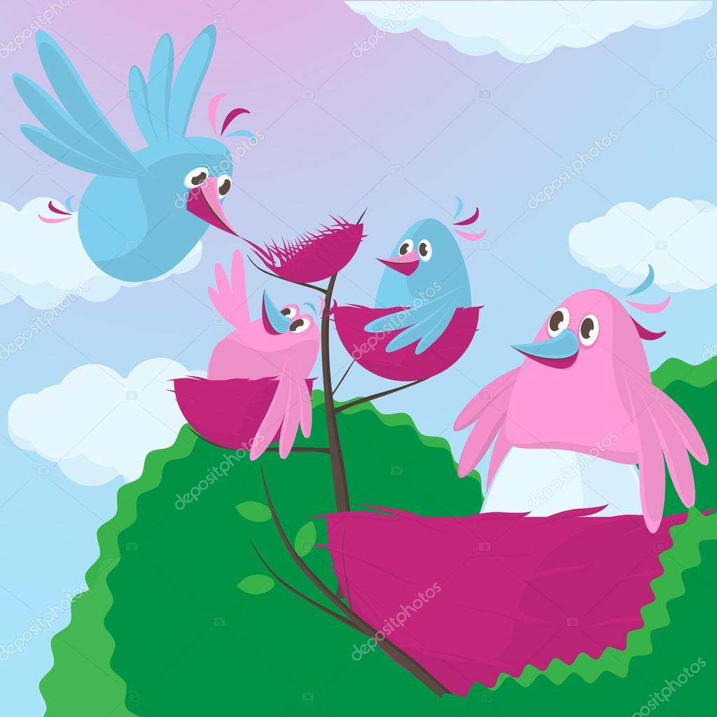 Uccelli simpatico cartone animato con una famiglia di