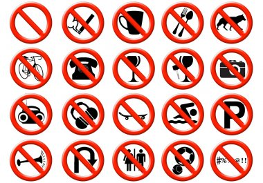 Illustration of a signs showing a list of prohibitions